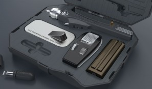 The Phaser in its foam-lined transit case (the USB charging cable is stored under the stand)