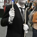 Charlie Chaplin holds 10th Doctor's Sonic Screwdriver