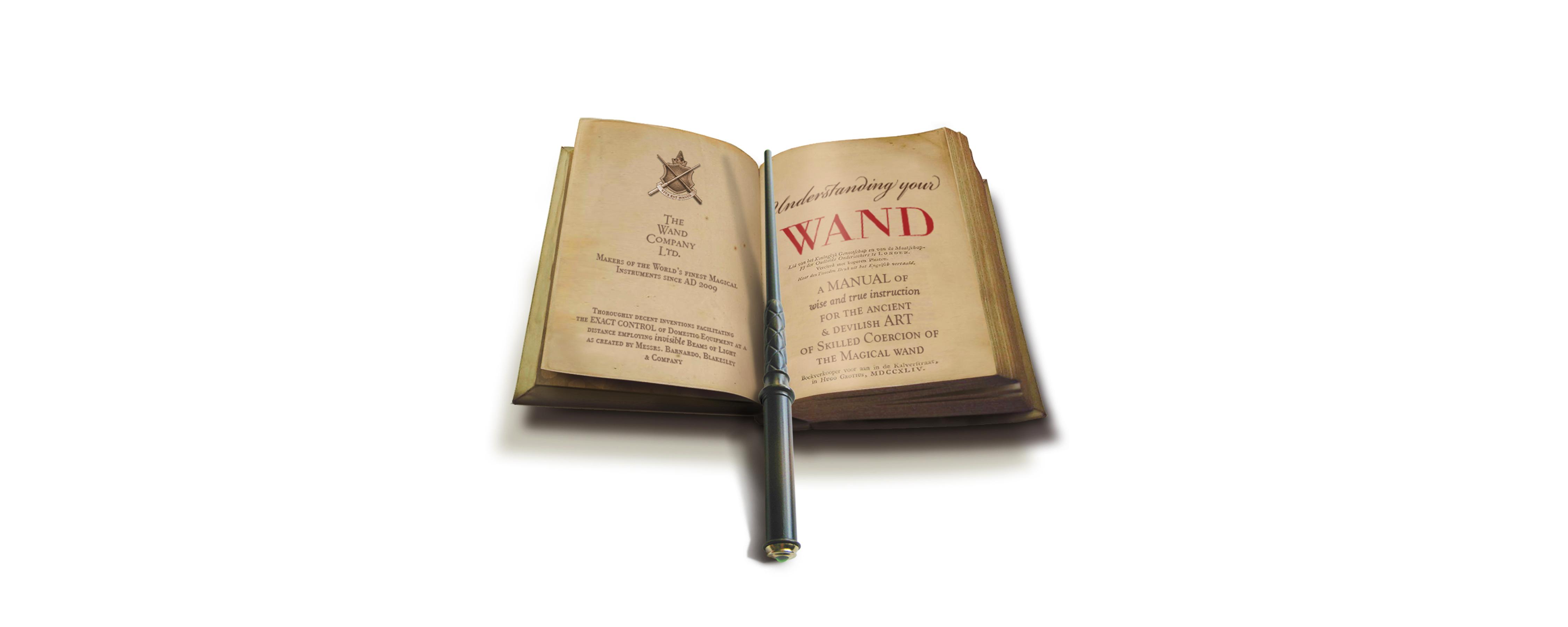 Kymera wand on book