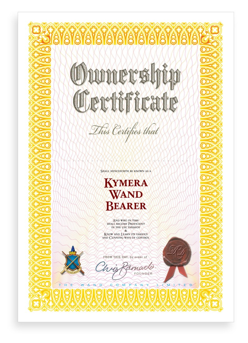 Kymera Wand ownership certificate | The Wand Company