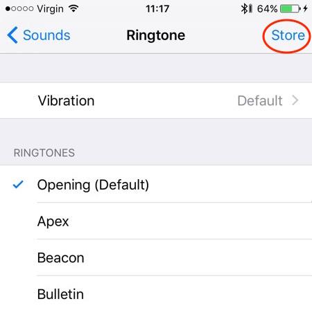 iPhone ringtone store