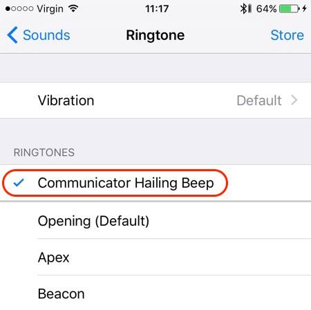 "Select the ""Communicator Hailing Beep"" ringtone"