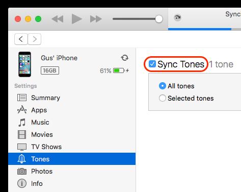"Select ""Sync Tones"""
